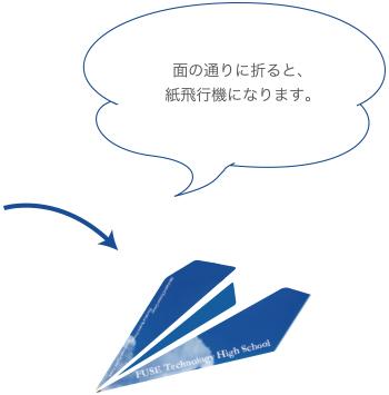 面の通りに折ると、紙飛行機になります。